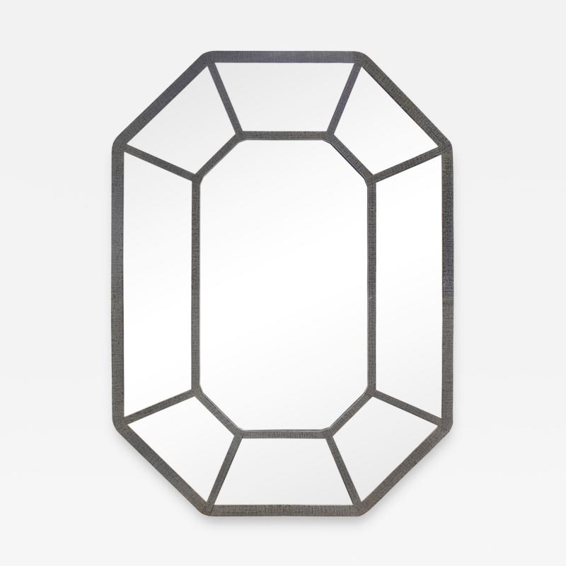 Karl Springer Karl Springer Large Hand Crafted Octagonal Mirror In Lacquered Linen 1970s