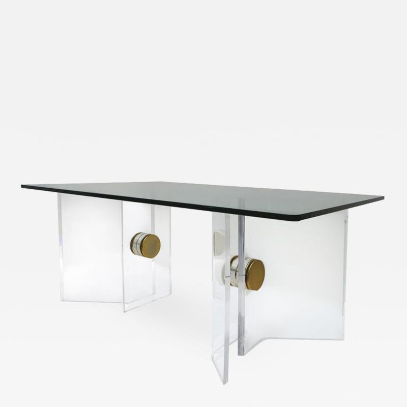 Karl Springer Karl Springer Lucite and Brass Desk with a Glass Top