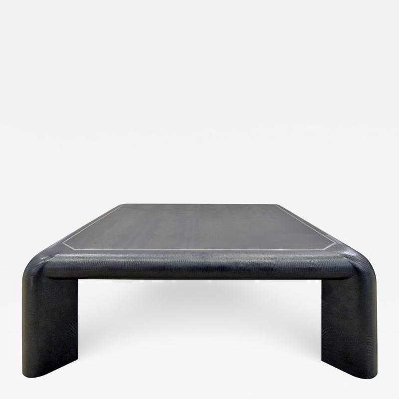 Karl Springer Karl Springer Mark II Coffee Table In Black Lizard Leather 1989 Signed