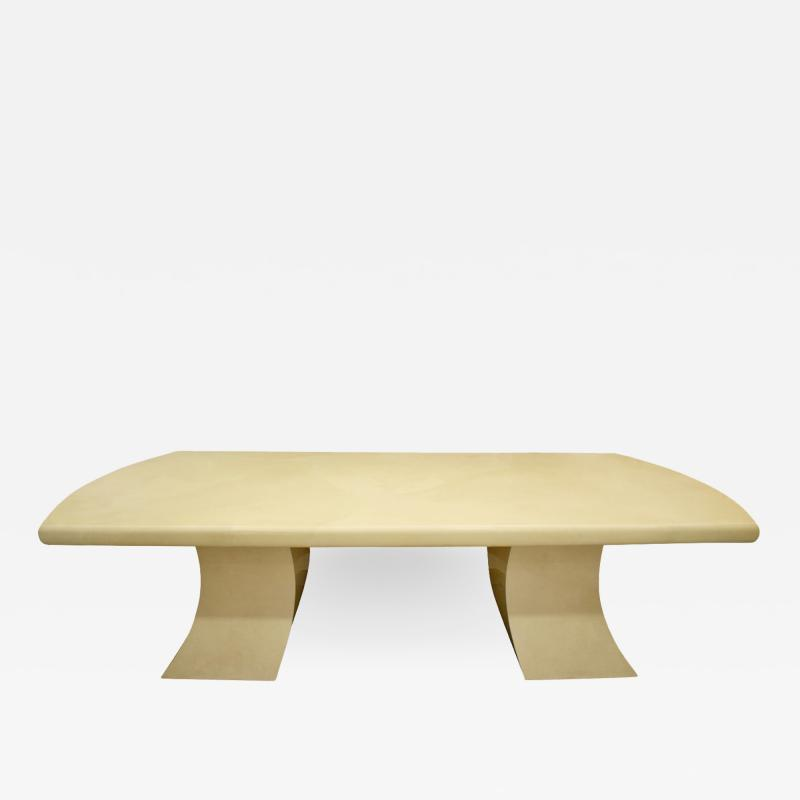 Karl Springer Karl Springer Pagoda Dining Table in Lacquered Goatskin 1980s