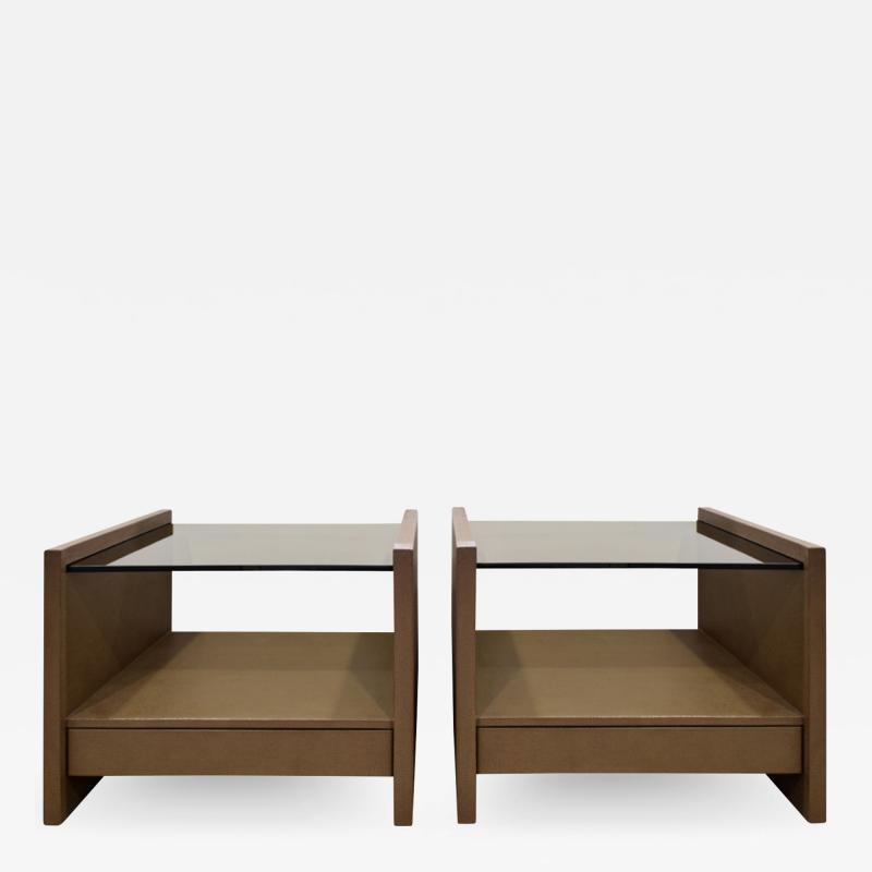 Karl Springer Karl Springer Pair Of Bedside Tables in Emu Leather And Bronze Glass Tops 1980s