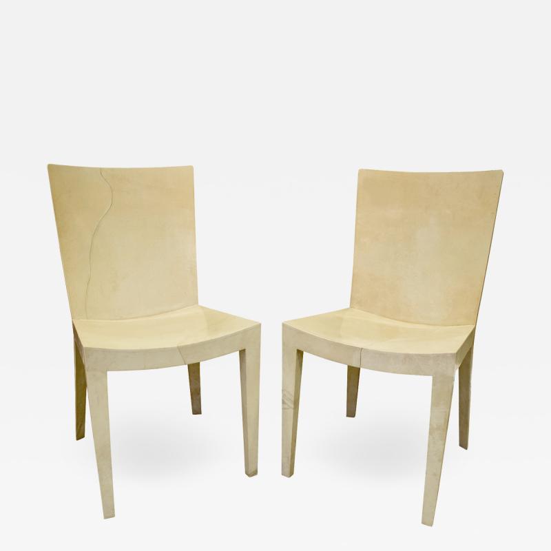 Karl Springer Karl Springer Pair of JMF Chairs in Lacquered Goatskin 1970s