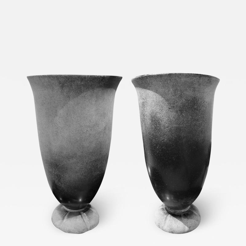 Karl Springer Karl Springer Pair of Monumental Hand Blown Scavo Glass Urns 1980s Signed