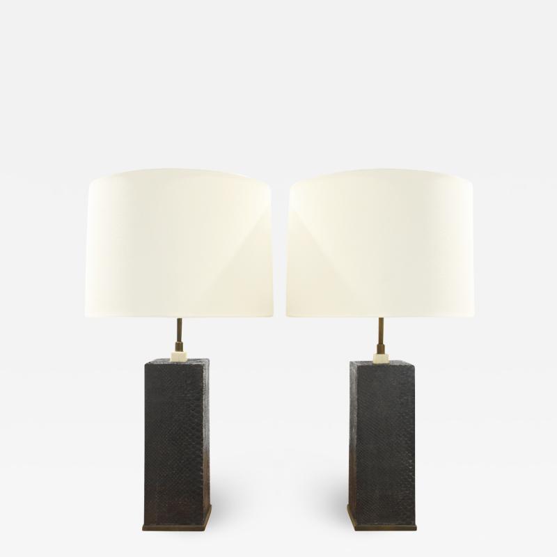 Karl Springer Karl Springer Pair of Table Lamps In Bronze With Black Cobra 1970s