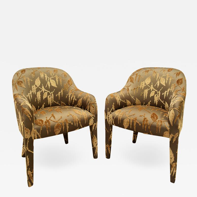 Karl Springer Karl Springer Pair of Upholstered Chairs 1980s