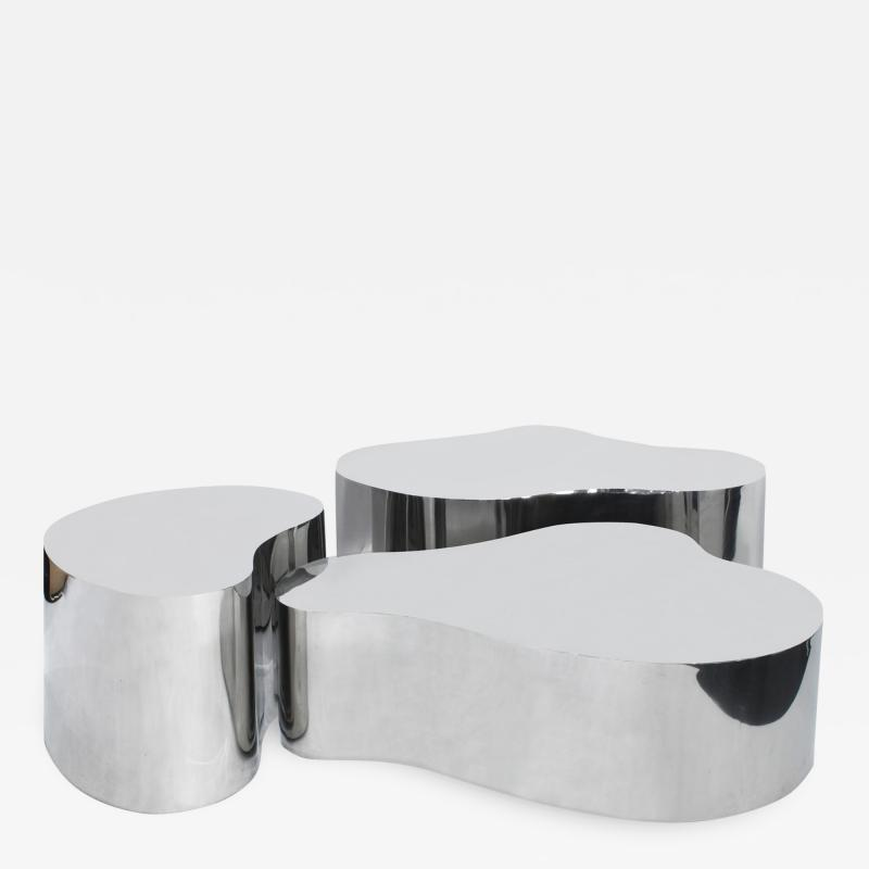 Karl Springer Karl Springer Rare Set of 3 Free Form Coffee Tables in Polished Steel 1980s