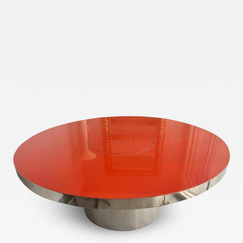 Karl Springer Karl Springer Red Stainless Steel Dining Table