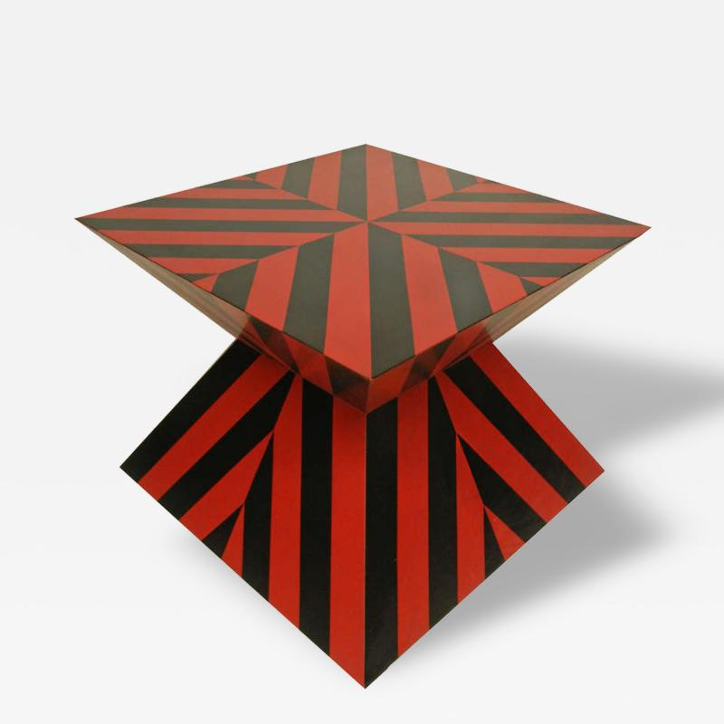 Karl Springer Karl Springer Red and Black Custom Striped Table