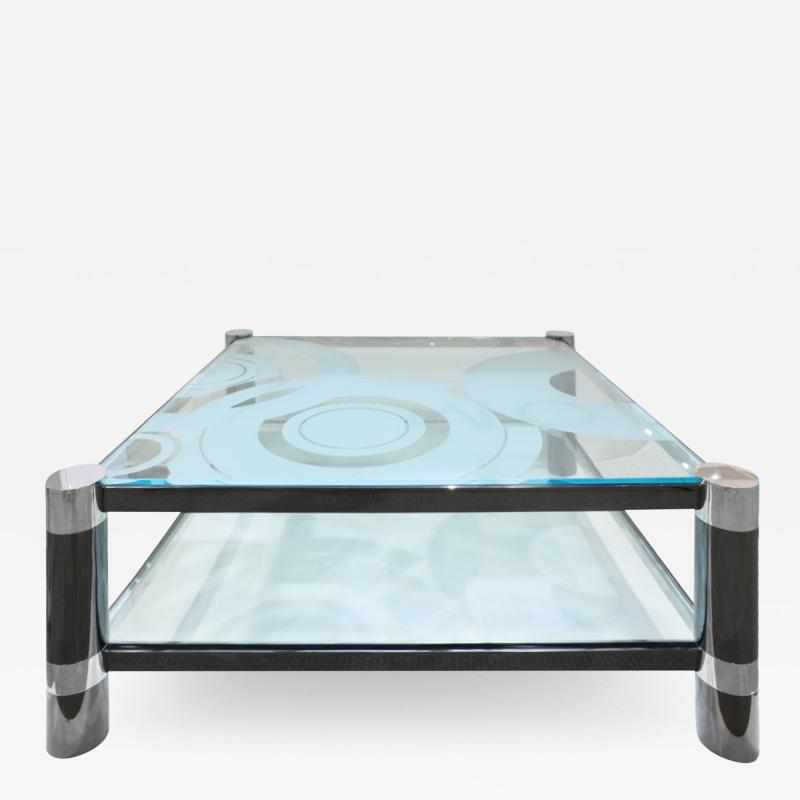 Karl Springer Karl Springer Round Leg Coffee Table with Artisan Etched Glass 1980s Signed