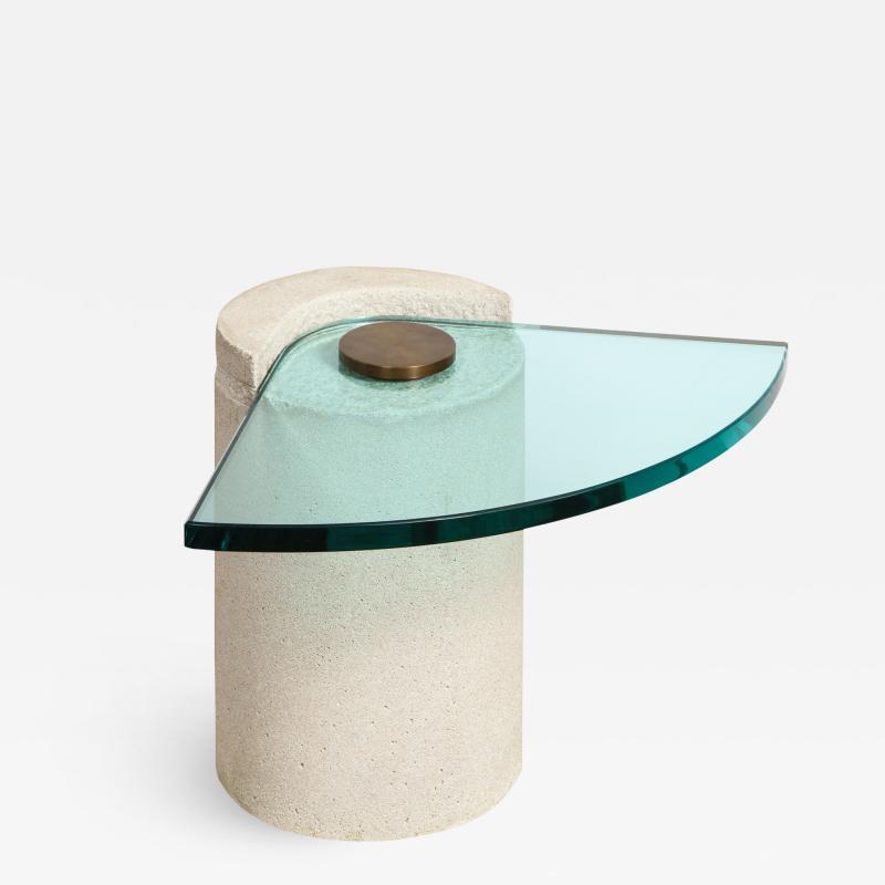 Karl Springer Karl Springer Sculpture Table in Sandstone and Bronze 1985