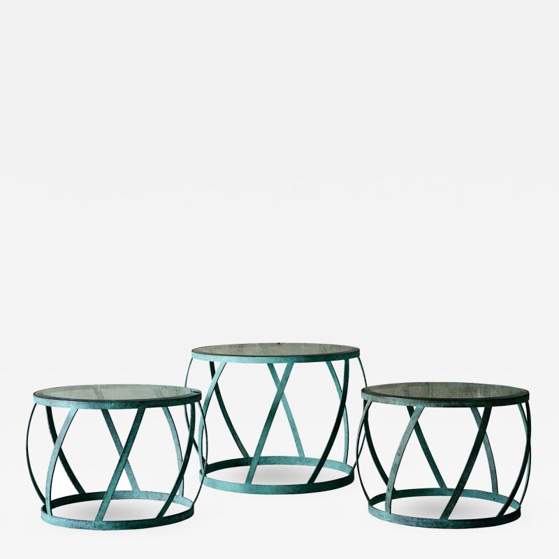 Karl Springer Karl Springer Set of 3 Barrel Tables