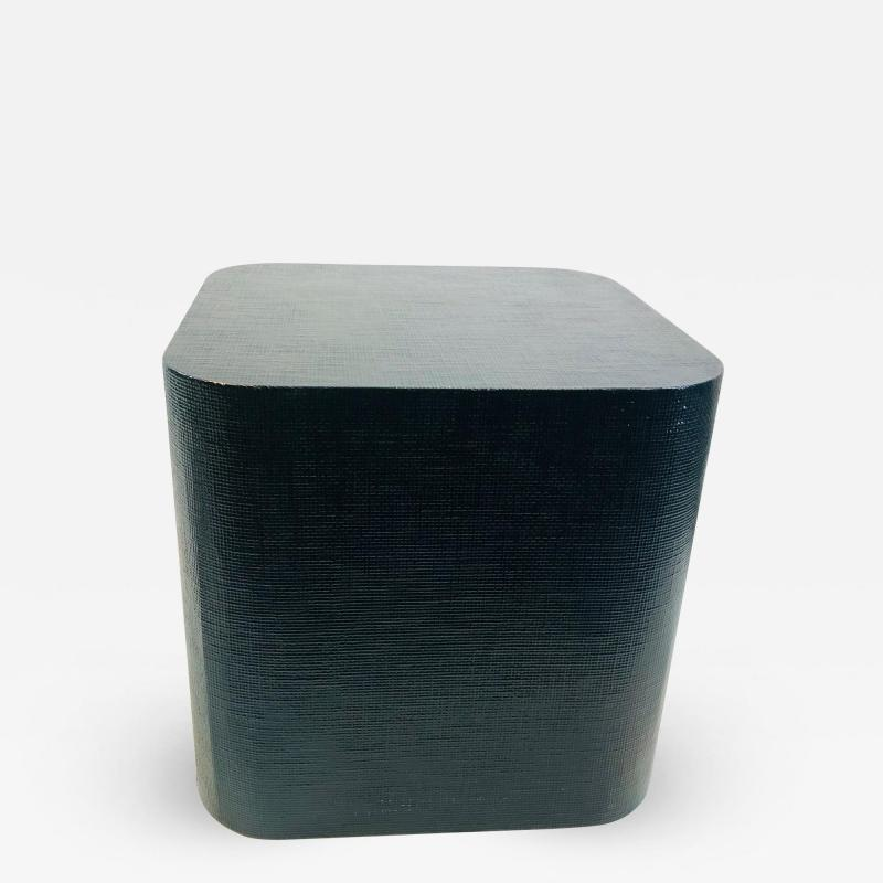 Karl Springer Karl Springer Style Grass Cloth Side Table
