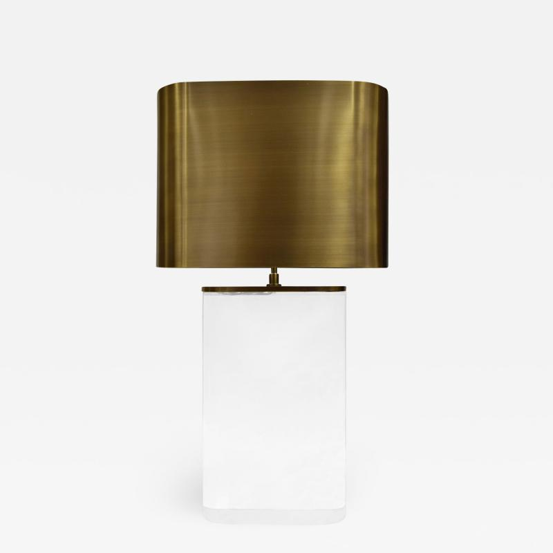 Karl Springer Karl Springer Table Lamp in Solid Lucite with Bronze Shade 1970s
