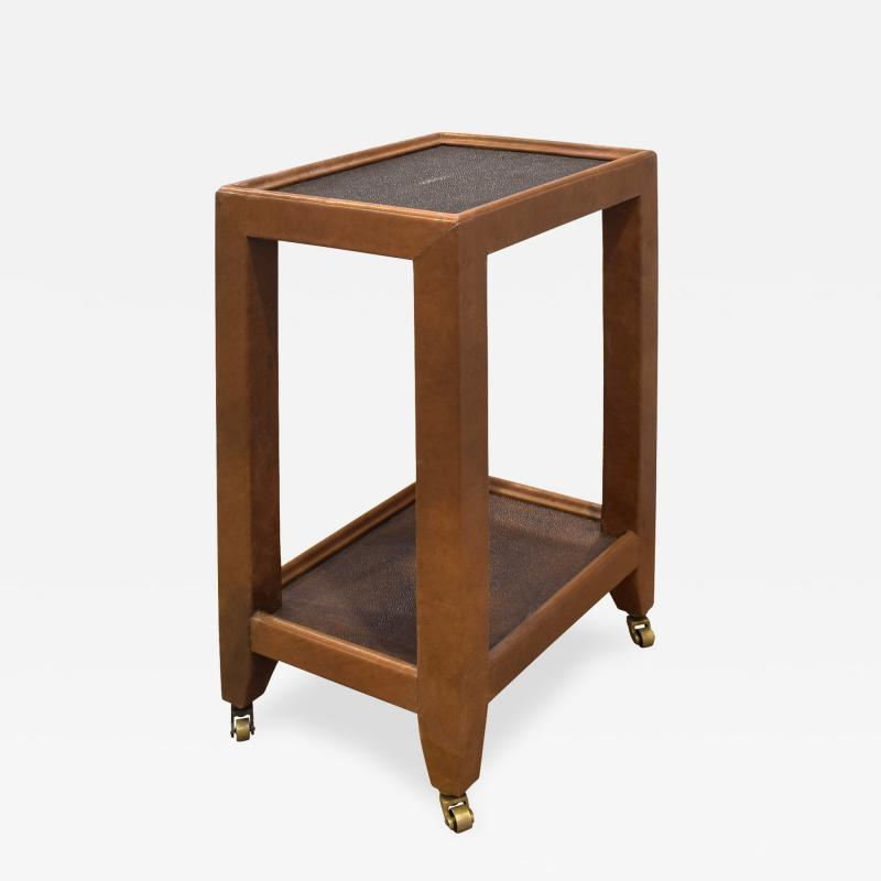 Karl Springer Karl Springer Telephone Table Style End Table in Leather and Shagreen 1980s