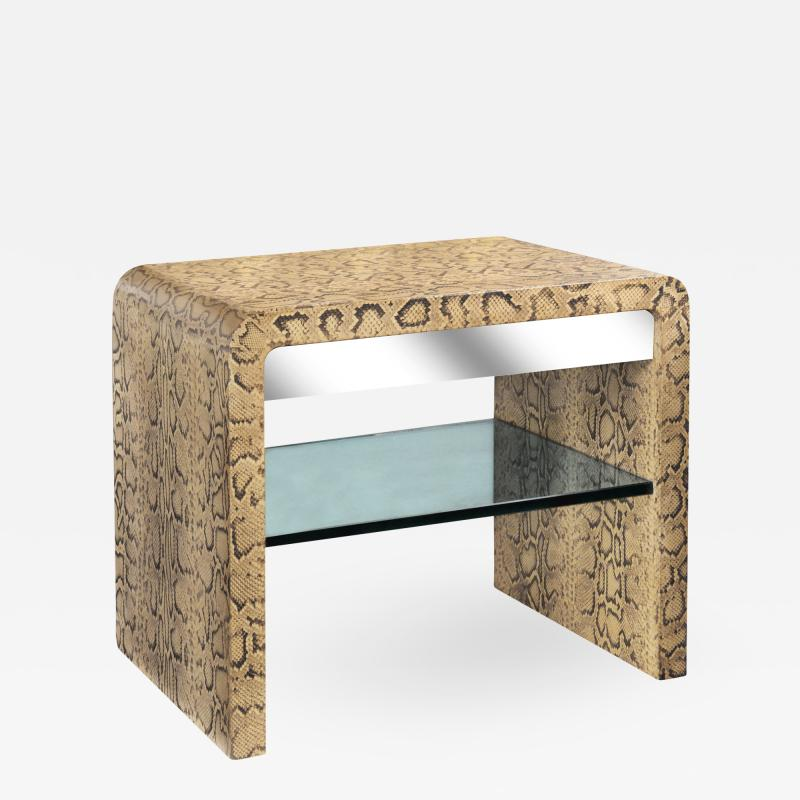 Karl Springer Karl Springer Waterfall Side Table in Python with Stainless Steel Drawer 1970s