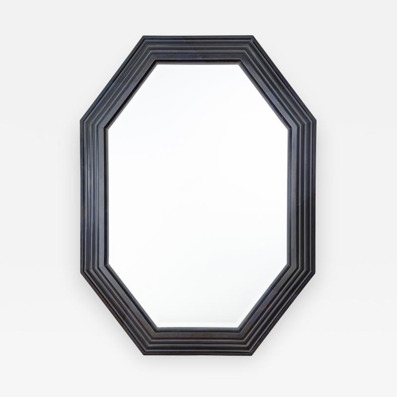 Karl Springer Karl Springer octagonal mirror in a faux lapis lacquer finish circa 1989