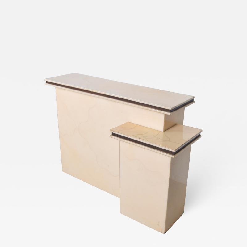 Karl Springer LTD Karl Springer Ltd Dry Bar Service Cabinet Lacquered Goatskin Parchment 1980