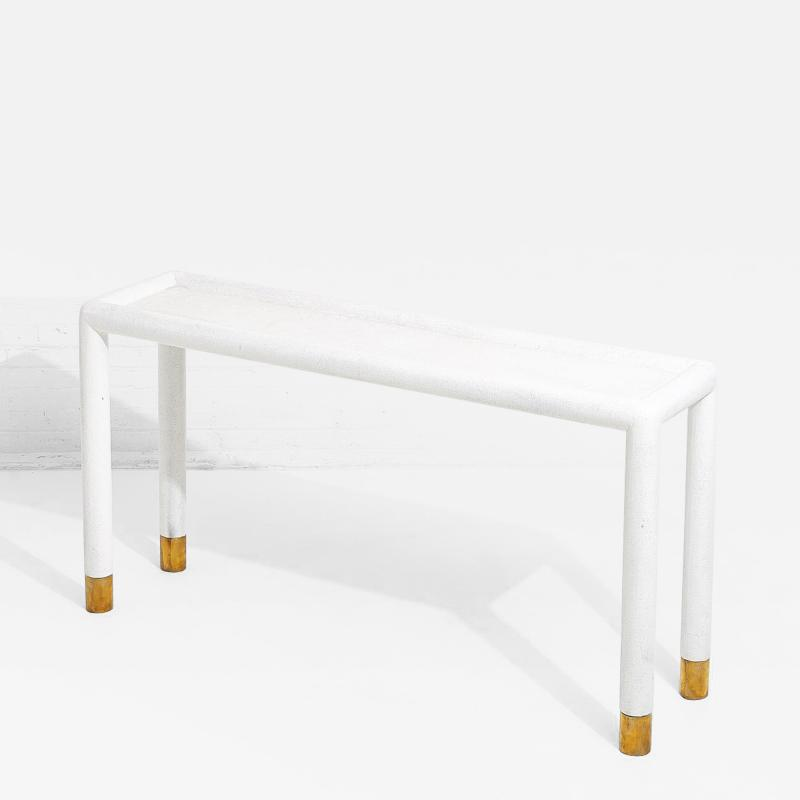 Karl Springer Lacquered Grasscloth and Brass Console Table 1970 s