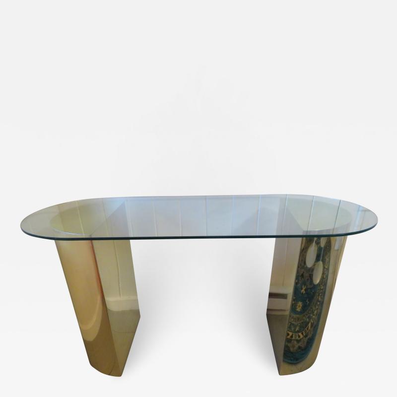 Karl Springer Lovely Brass Half Cylinder Console Table Mid Century modern Karl Springer style