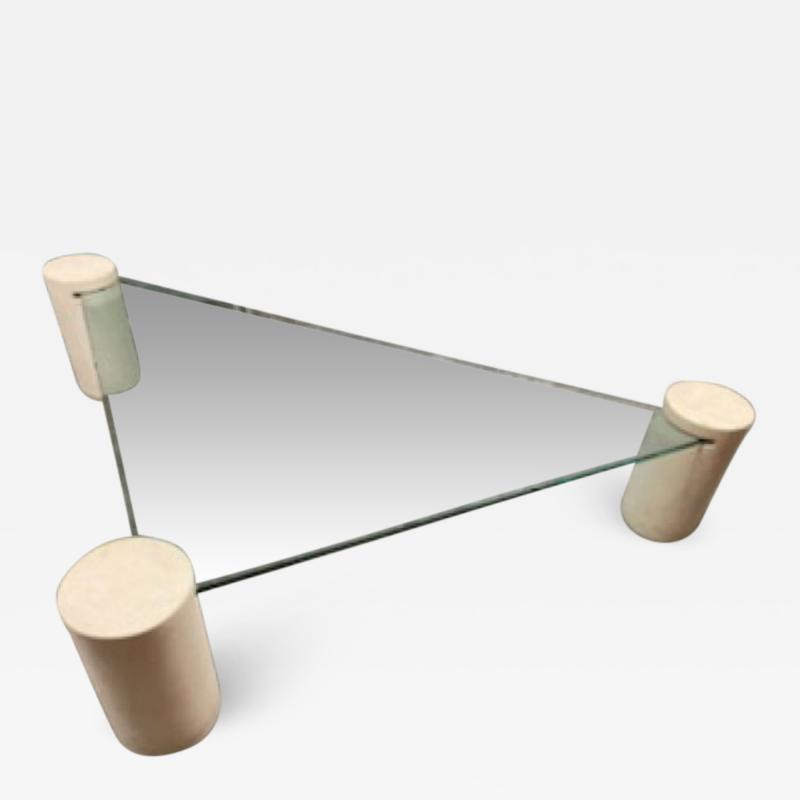 Karl Springer MODERN CYLINDER AND GLASS TRIANGULAR COFFEE TABLE IN THE MANNER OF KARL SPRINGER