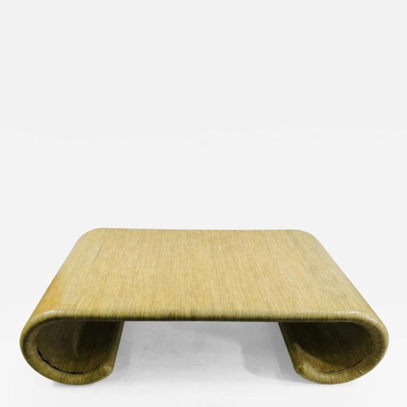Karl Springer MODERN GRASSCLOTH SCROLL COFFEE TABLE