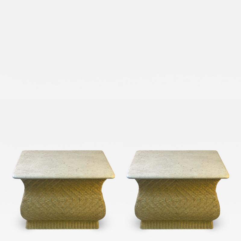 Karl Springer MODERN PAIR OF TRAVERTINE AND WICKER CORSETTED TABLES