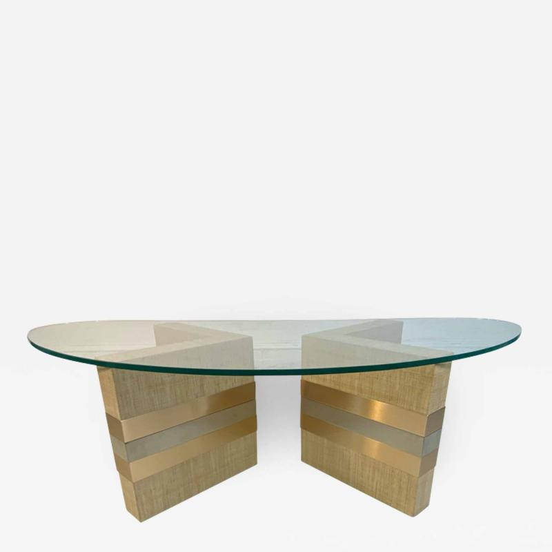 Karl Springer MODERNIST GRASSCLOTH AND TWO TONE METAL COFFEE TABLE