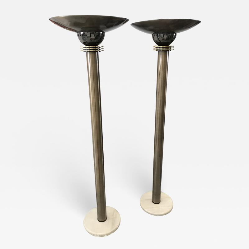 Karl Springer Monumental Pair of 1980s Torchieres Floor Lamps attributed to Karl Springer