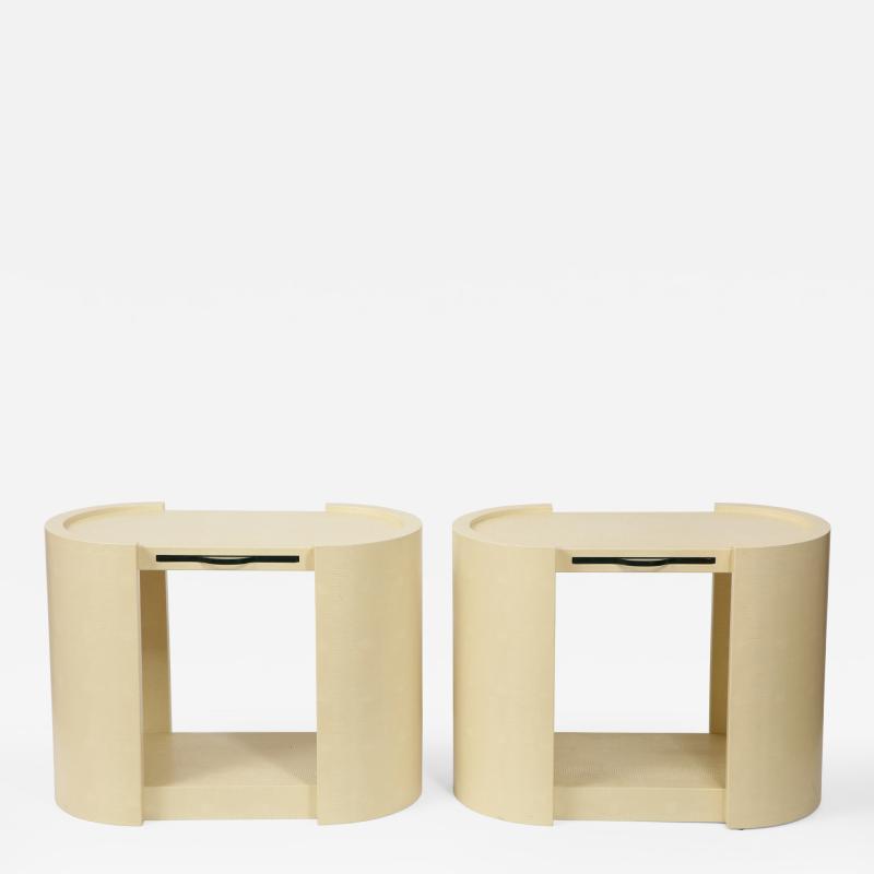 Karl Springer Pair of Karl Springer Embossed Leather Side Tables