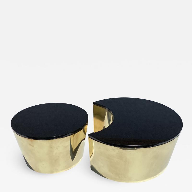 Karl Springer Set of Interlocking Brass and Granite Coffee Tables