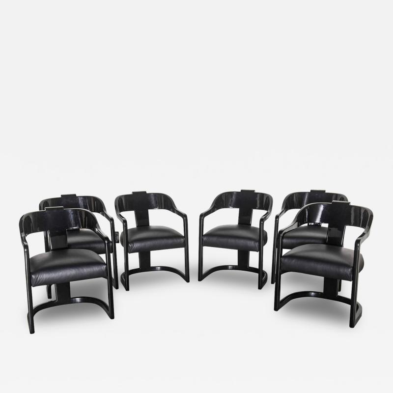 Karl Springer Set of Six American Modern Black Lacquer Ari Chairs style of Karl Springer