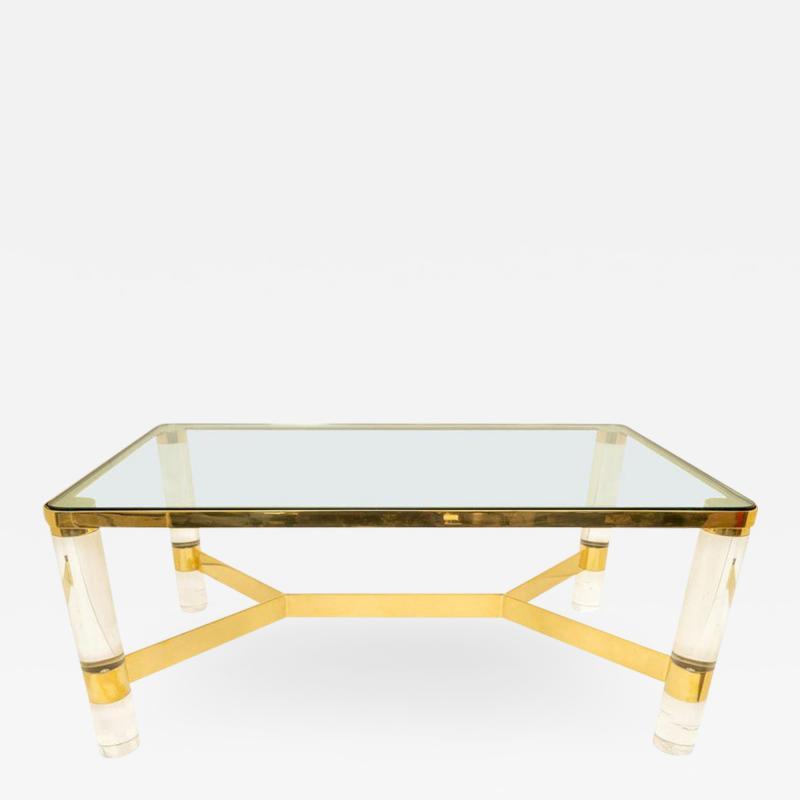 Karl Springer Signed Karl Springer Cocktail Table in Lucite and Brass