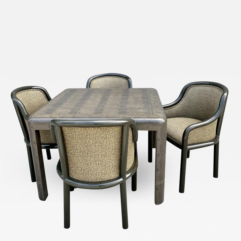 Karl Springer Signed Karl Springer Lizard Embossed Leather Table and Four Lacquered Chairs