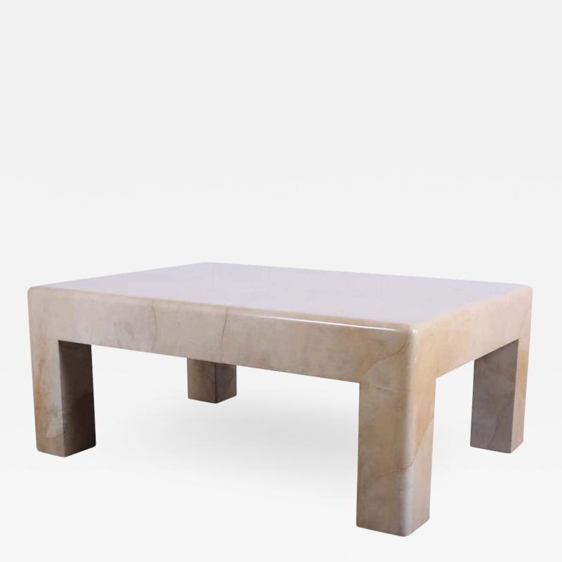 Karl Springer Signed Karl Springer Parchment Goatskin Table