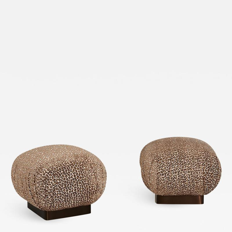 Karl Springer Souffl Pair Pouf Ottomans Bronze Base