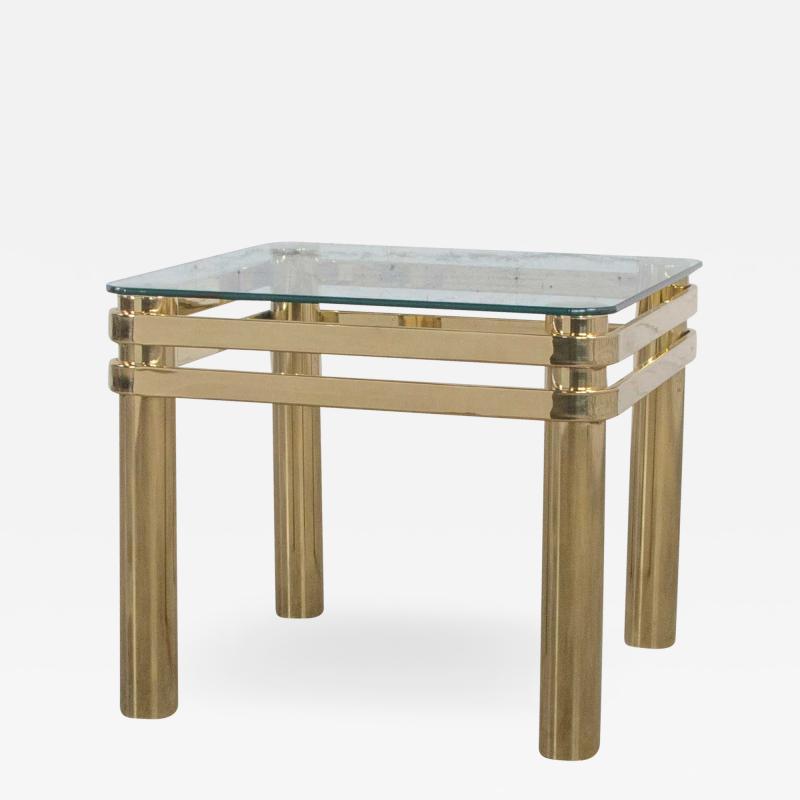 Karl Springer Vintage modern brass glass side end table w glass top style pace or springer