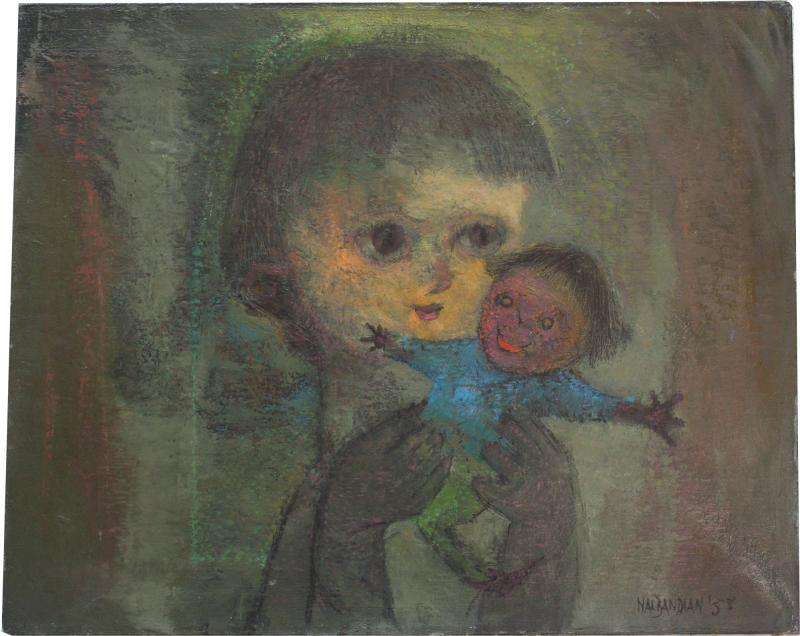 Karnig Nalbandian Blue Doll Oil on Canvas 1953
