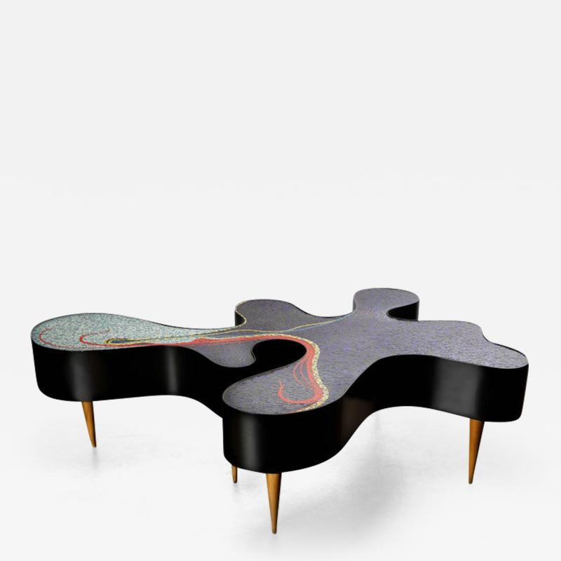 Katharina Welper One of a Kind Contemporary Mosaic Low Table by Katharina Welper Brazil 2014