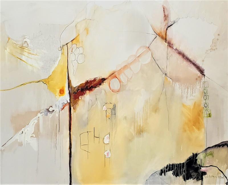 Kathi Robinson Frank Buddhas Breakfast 2021 Large Abstract Oil On Canvas by Kathi Robinson Frank