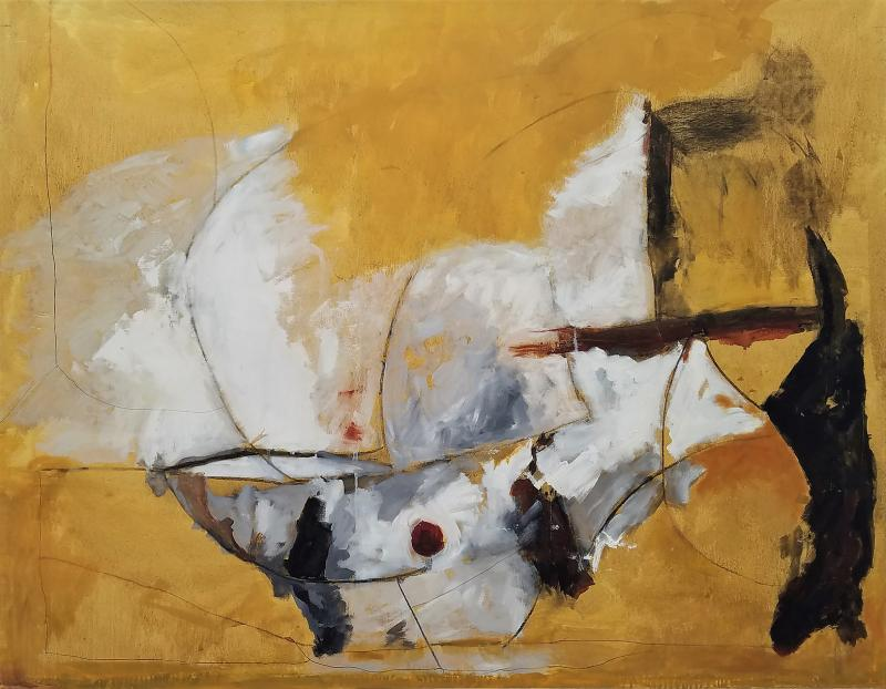 Kathi Robinson Frank Mexican Sun Gold White Black Abstract Oil Painting by Kathi Robinson Frank