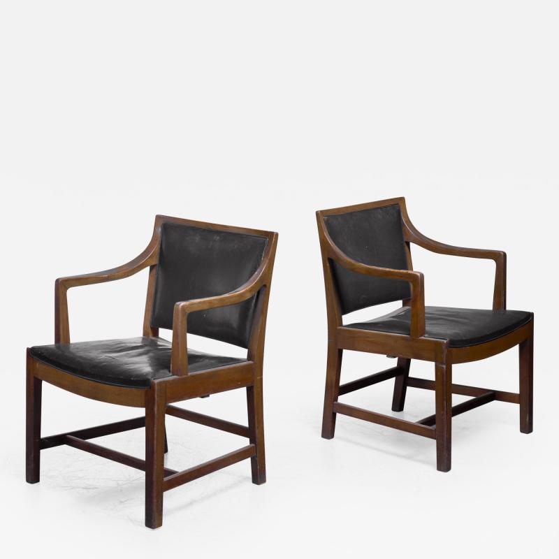 Kay Fisker Pair of Kay Fisker attributed armchairs in dark green leather
