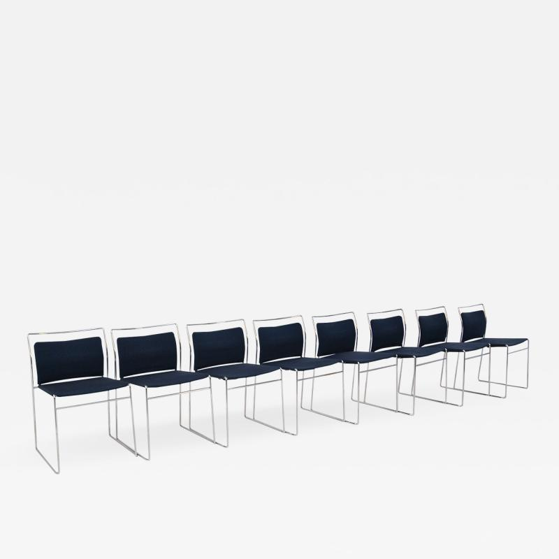 Kazuhide Takahama Set of Eight Steel and Cotton Chairs by Kazuhide Takahama