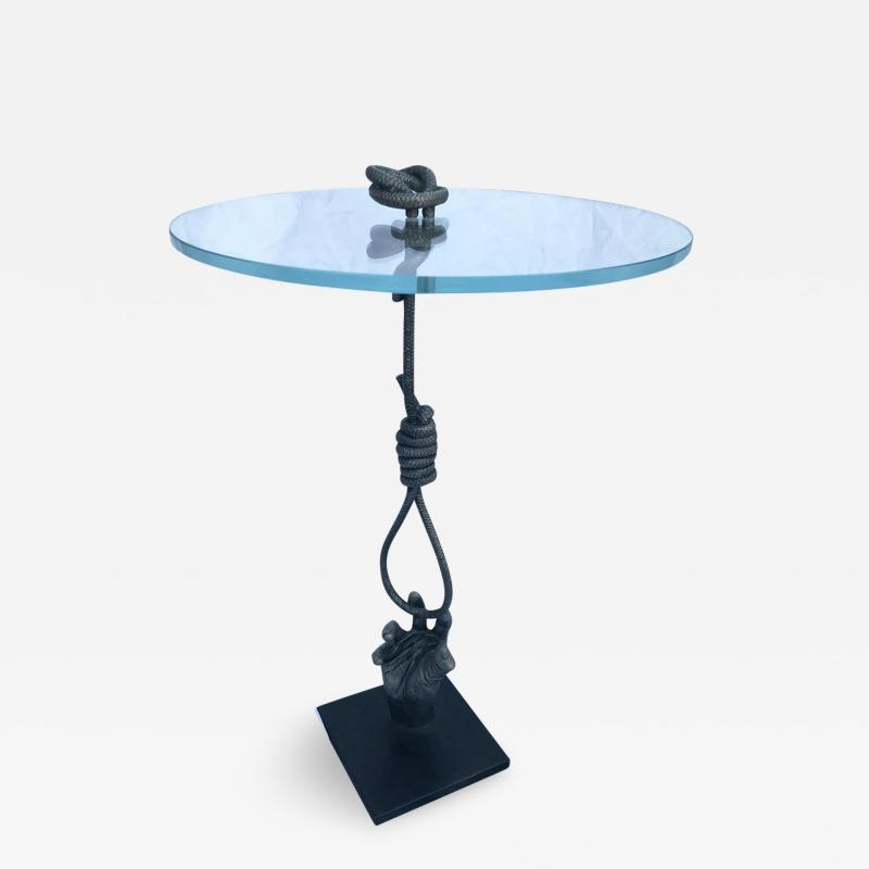 Kelly Kiefer Freedom Within Reach Cast Stainless Steel Glass Table