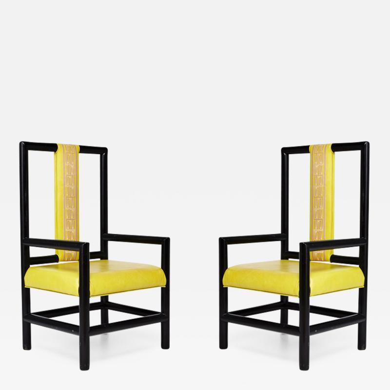 Kelly Wearstler Pair of Kelly Wearstler High Back Chairs