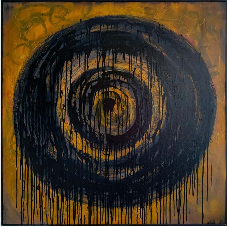 Kennan Del Mar Black Hole on Yellow Gold Painting Oil and Pastel on Canvas