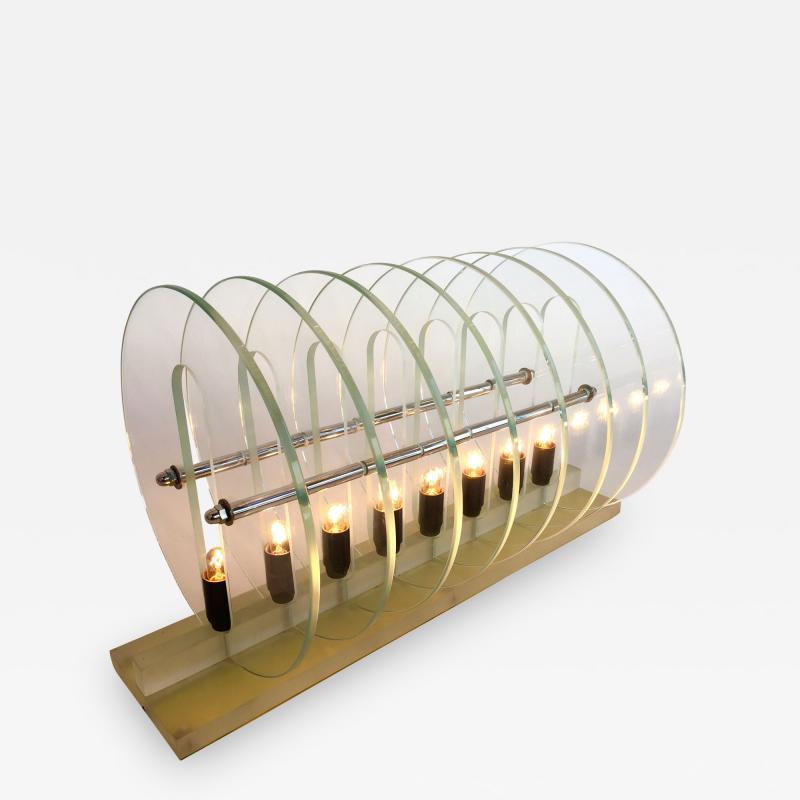 Kinetic Optic Italian Design Glass Disc Lucite Lamp Italy 1980s