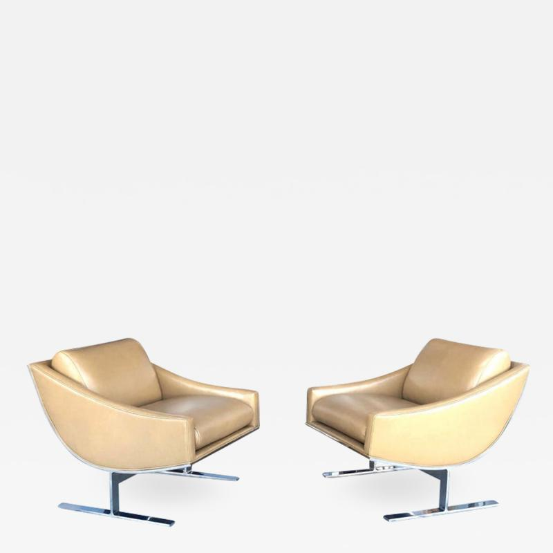 Kipp Stewart Kipp Stewart Pair of Stainless Steel and Camel Leather Lounge Chairs 1960s