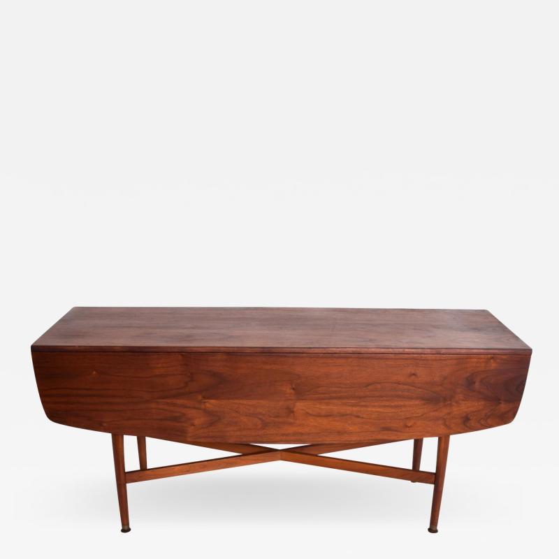 Kipp Stewart Mid Century Modern Rare Walnut Drop Leaf Dining Table by Kipp Stewart for Drexel