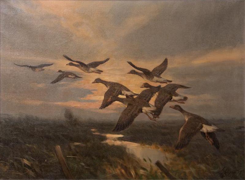 Knud Edsberg Vintage Original Oil Painting of a Flight of Geese Knud Edsberg