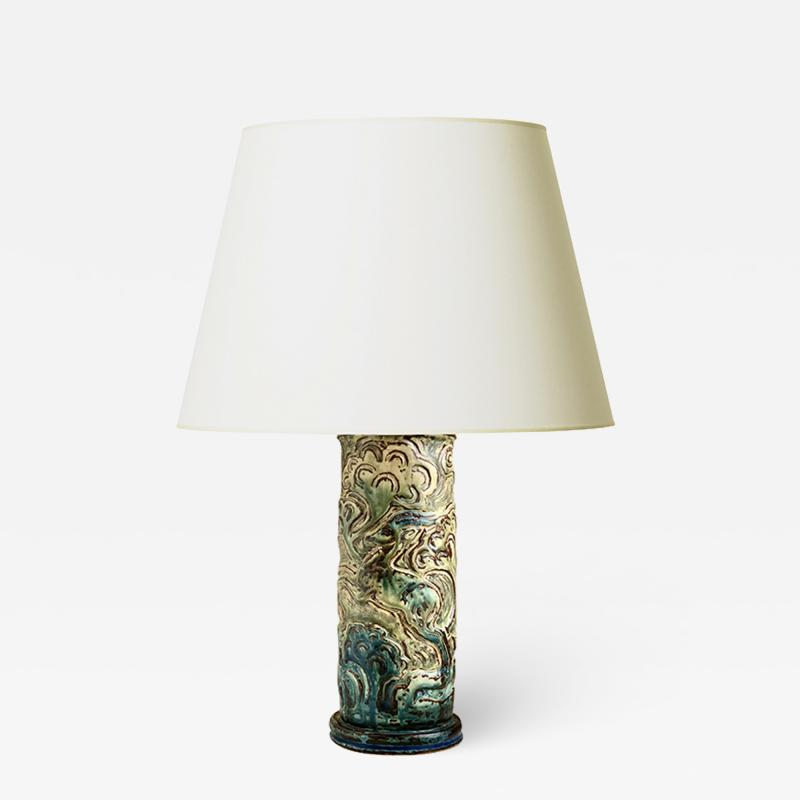 Knud Kyhn Exceptional Table Lamp with Leapijg Gazelle Relief by Knud Kyhn